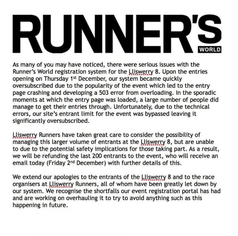 Lliswerry Runners Statement